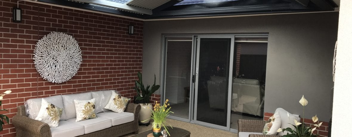corrugated gable roof verandah attached to fascia